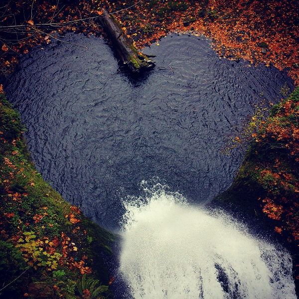 Scenic copy image of a heart shaped lake in Portland, Oregon.